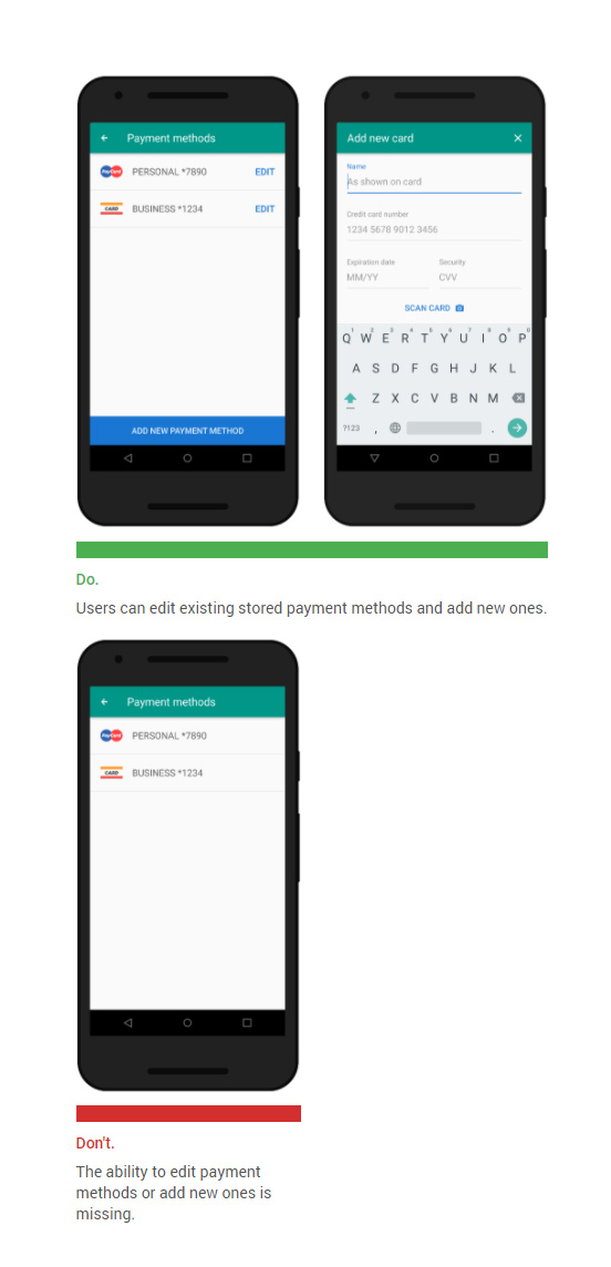 Make it easy to edit and add payment methods