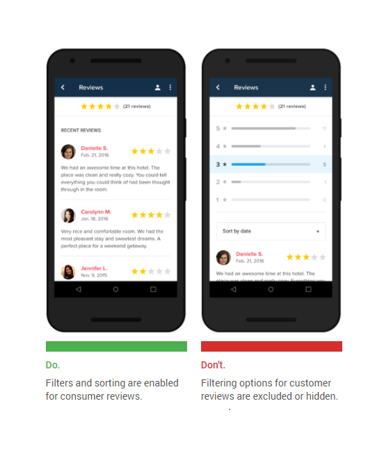 Allow user reviews to be sorted and filtered [Click and drag to move] ​