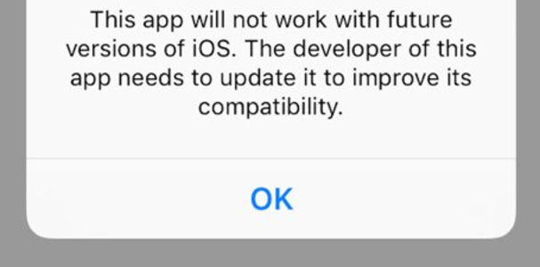 Warning for 32-bit Apps on ios 10.3 beta